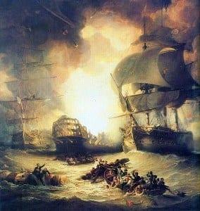 """אניית הדגל של הצי הצרפתי """"האוריינט"""" עולה באש במהלך קרב אבוקיר"""