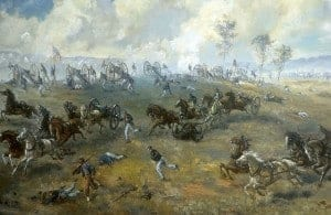 Capture of Ricketts' Battery, painting by Sidney E. King, National Park Service.