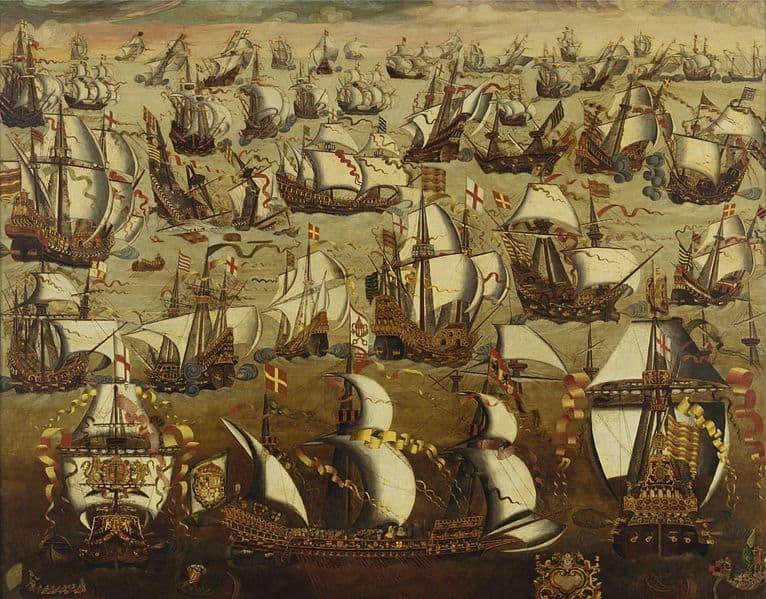 ציור של הקרב בין הארמדה לצי האנגלי