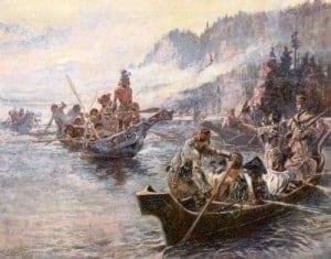 לואיס וקלארק על נהר קולומביה, ציור של ס.מ. ראסל
