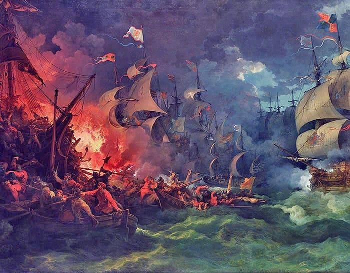 """ציורו של פיליפ ז'ק דה-לות'רבורג """"תבוסת הארמדה הספרדית"""""""