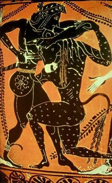 תסאוס הורג את המינוטאורוס - ציור על כד