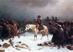 נפוליאון הנסוג ממוסקבה מתבוסס בשלג הרוסי, 1812. ציור של אדולף נורתן