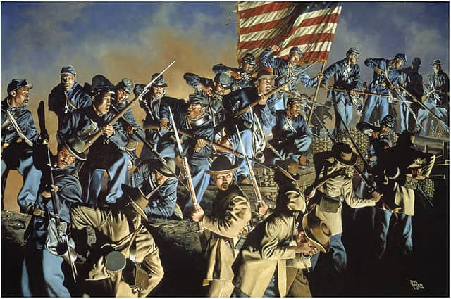 The painting The Old Flag Never Touched the Ground, which depicts the 54th Massachusetts Volunteer Infantry Regiment at the attack on Fort Wagner, South Carolina, on July 18, 1863.