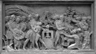 The_printing_press_bringing_freedom_and_European_civilization_to_Africa_-_relief_on_the_Gutenberg_monument_in_Strasbourg