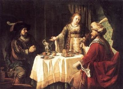 המן ואחשוורוש במשתה של אסתר. רמברנדט 1660