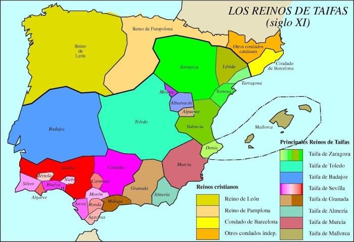 מפת הנסיכויות המוסלמיות בספרד בזמנו של שמואל הנגיד