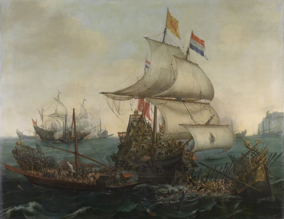 Vroom_Hendrick_Cornelisz_Dutch_Ships_Ramming_Spanish_Galleys_off_the_Flemish_Coast_in_October_1602 (Medium)