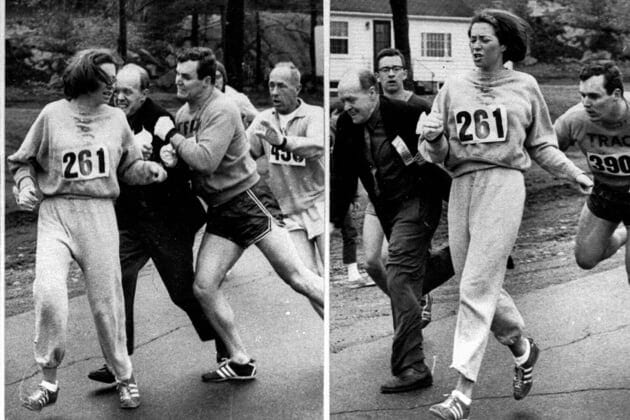 Katherine Switzer of Syracuse found herself about to be thrown out of the normally all-male Boston Marathon when a husky companion, Thomas Miller of Syracuse, threw a block that tossed a race official out of the running instead, April 19, 1967 in Hopkinton, Mass. (AP Photo)