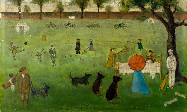 Painting of people playing sport in the grounds of the York Retreat
